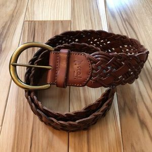 Fossil Woven Leather Brown Belt Size Small